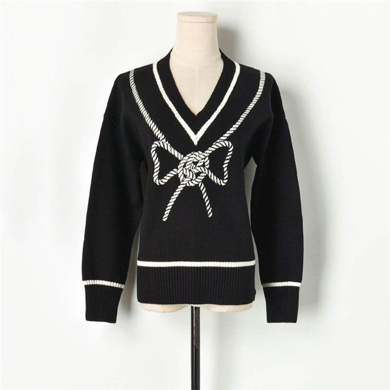 Arc pull femmes 2019 automne automne à manches longues tricoté hauts femme noeud papillon mince basique tricots corée Relax Patchwork pulls