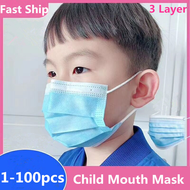 Child Mask Disposable 3 Layer Elastic Mouth Mask Non-Woven Safe Protective Filter Children Face Masks Breathable