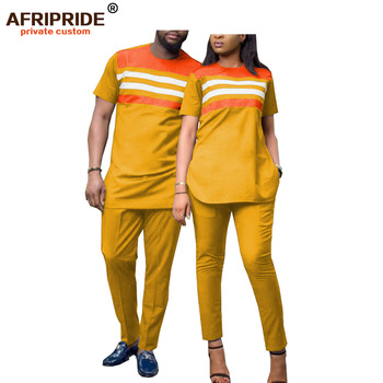2020 african 2 pieces sets for men and women couples clothing dashiki tops shirts print pants short sleeve AFRIPRIDEA19C001 hellow and good bye print short sleeve tops