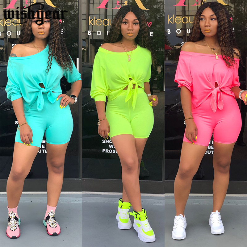 Solid Color Summer 2 Piece Set Women Sexy 3/4 Sleeve Front Tie Up Hem Crop Top + Shorts Sporting Tracksuit Outfits Plus Size XXL