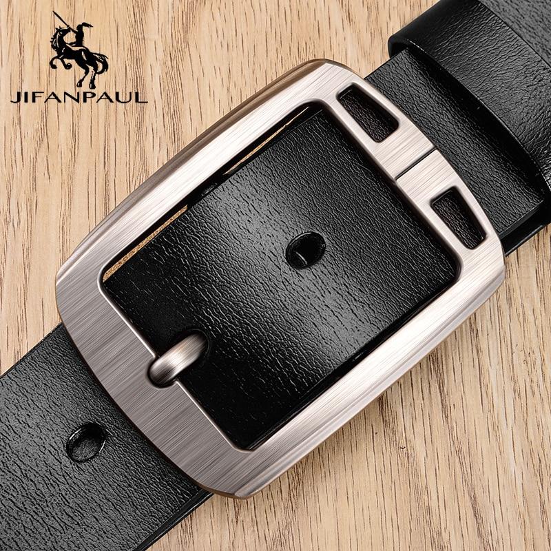 JIFANPAUL Men Belt Fashion Vintage Pin Buckle Genuine Leather Belts For Male Jeans Men's Business Belt Free Shipping