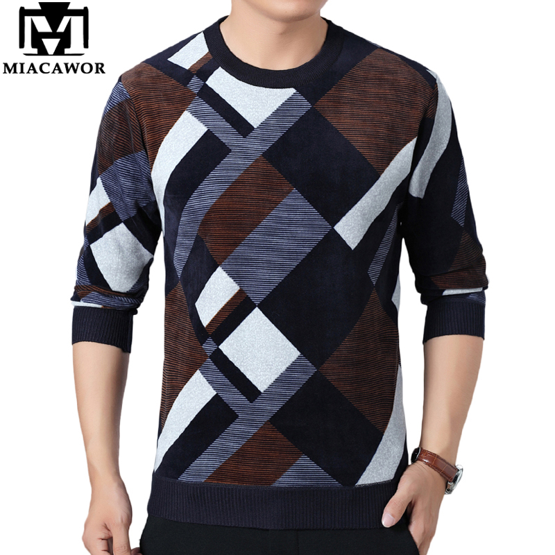 MIACAWOR New Thick Winter Sweater Men Fleece Warm Pullover Men Casual Plaid Jersey Hombre Pull Homme Slim Fit Knitwear Y247