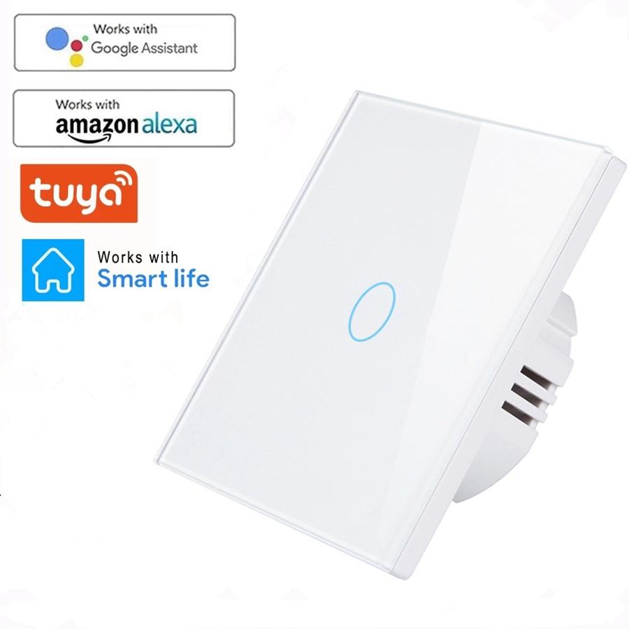 Tuya WiFi inteligentny włącznik światła z luxuriy szklany Panel dotykowy czujnik inteligentny przełącznik ścienny 1 2 3 Gang obsługa głosowa Alexa Google Home