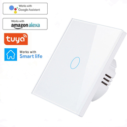 Tuya WiFi Smart Light Switch with Luxuray Glass Panel Touch Sensor Smart Wall Switch 1 2 3 Gang Voice Support Alexa Google Home