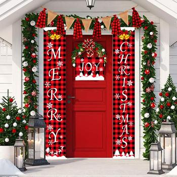 Merry Christmas Porch Sign Couplet Hanging Banners for Holiday Home Indoor Outdoor Decoration New Year Supplies