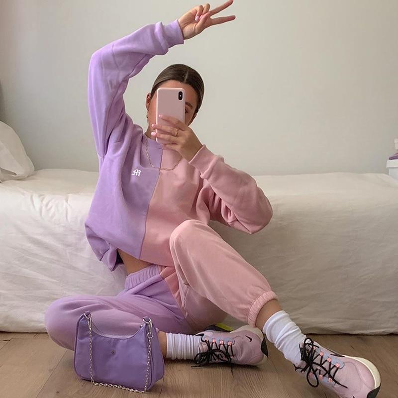 Women Pink Purple Patchwork Two Piece Set Tracksuit Long Sleeve Sweatshirts and Baggy Sweatpants Fahion Autumn Winter Streetwear