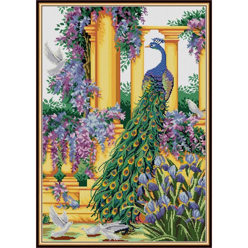 Amour éternel fleurs violettes et paon chinois 5d diamant peinture pleine carré décorations de noël pour la maison halloween navidad