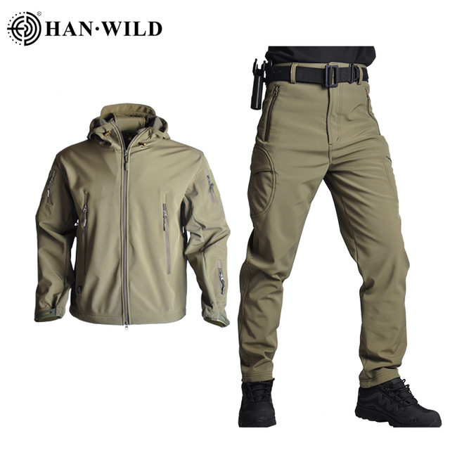 Hunting Jacket Airsoft Army Waterproof Tactical Jackets Men Soft Shell Camo Hunting Clothes Suit Shark Skin Military Coats+Pants 1