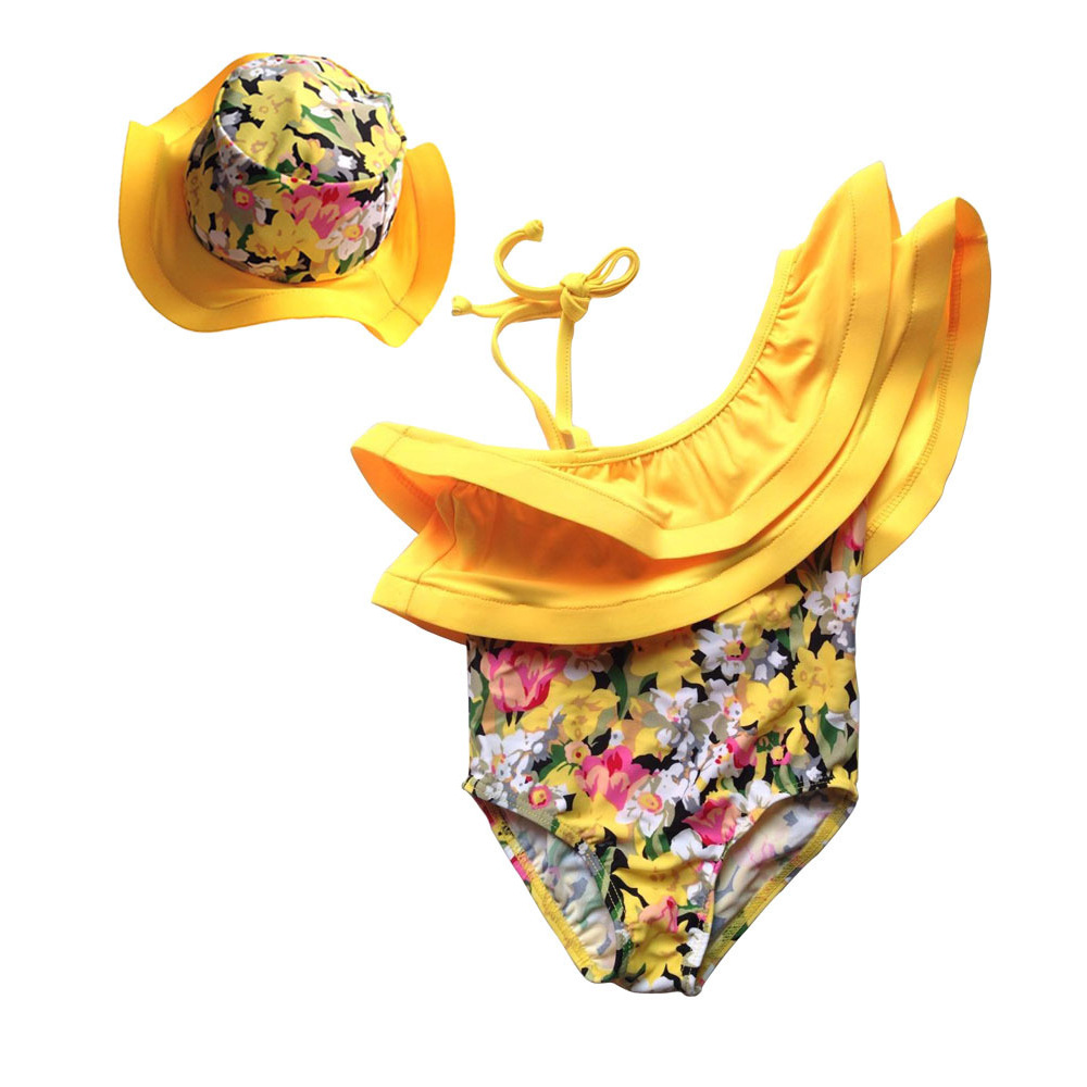 Girl'S Swimsuit Girls One-piece Strap Dress Yellow Floral-61 Children's Day Dance Performance Hot Springs Suit