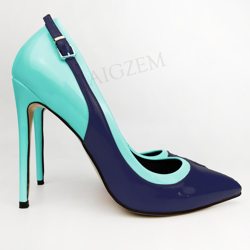 LAIGZEM SUPER Women Heels Patent Shiny Color Contrast High Heels Pumps Party Prom Stage Shoes Woman Zapatos Size 34 43 44 47