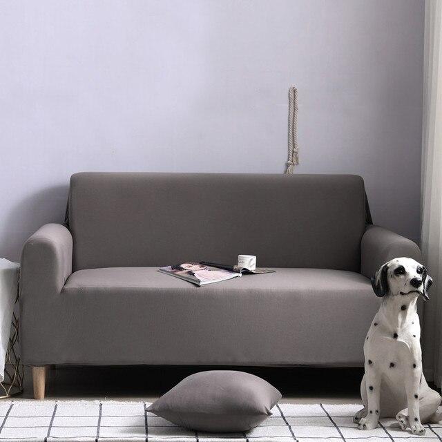 Фото комплект эластичных чехлов для дивана хлопковые однотонные эластичные