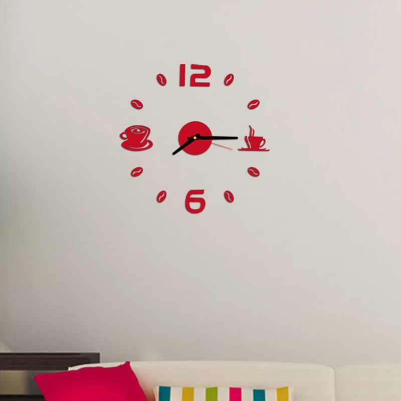 1 sztuk kreatywny zegar zegarek zegary ścienne Horloge 3D DIY lustro akrylowe naklejki Home Decor salon igła kwarcowa zegary ścienne
