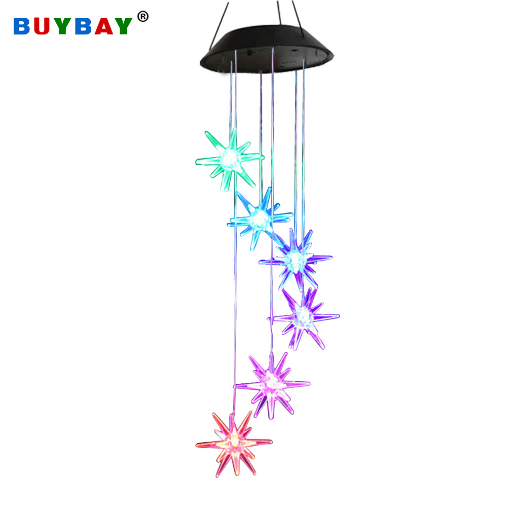 LED Solar Wind Chime Light Color Changing Solar Stars Lamp Waterproof Outdoor LED Solar Light for Home Party Garden Yard Patio