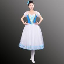 Nieuwe Romantische Tutu Giselle Ballet Kostuums Meisjes Kind Velet Lange Tule Jurk Skate Ballerina Jurk Bladerdeeg Mouw Refrein Jurk