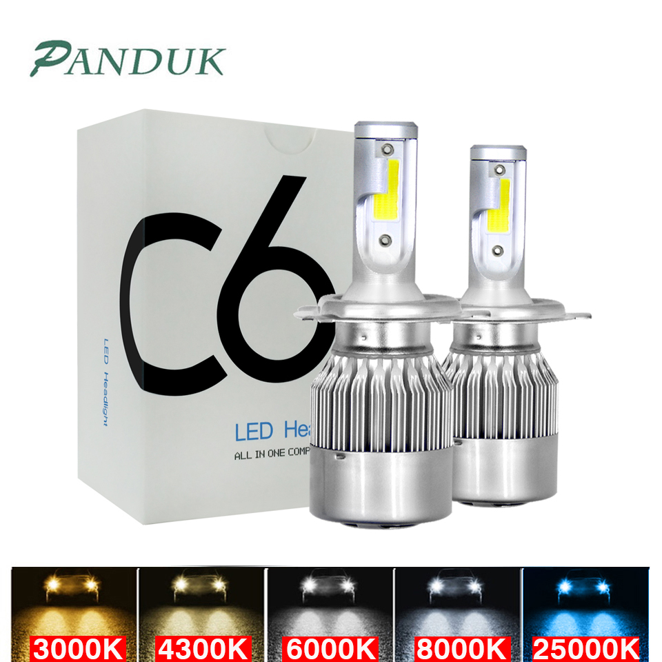 PANDUK C6 LED H3 H4 880 HB3 H1 9005 HB4 9006 H13 H7 LED Car Lights H11 Led Car Led Headlight Bulbs 12V 8000LM 3000K 6000K 8000K