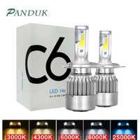 PANDUK C6 LED H3 H4 880 HB3 H1 9005 HB4 9006 H13 H7 LED Car Lights H11 Led Car Led Headlight Bulbs 12V 8000LM 3000K 6000K 8000K