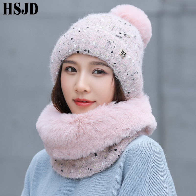 Sweet Lovely Snowflake Dots Knitted Hat And Mink Plush Scarf 2Pcs Set Winter Women's Hats Thick Warm Skullies Beanies Female Cap