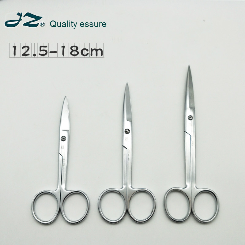 Professional Surgical Scissors JZ Hight Quality Stainless Steel Medical Scissors Length 180mm Straight / Curved Tip / Round