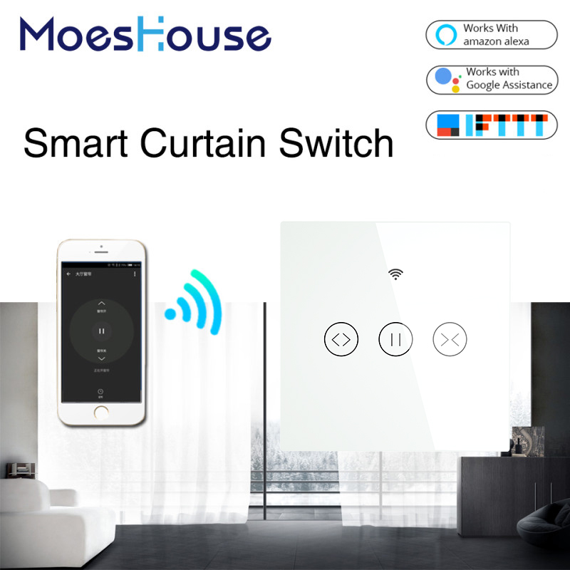 Tuya WiFi Smart Curtain Blind Switch for Electric Motorized Curtain Roller Shutter Works with Alexa Google Home Smart Home