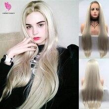 Fantasy Schoonheid Vrouwen Lijmloze Blonde Ombre Lace Front Pruiken Synthetische, Realistisch Uitziende Zijscheiding Lange Rechte Dark Wortels