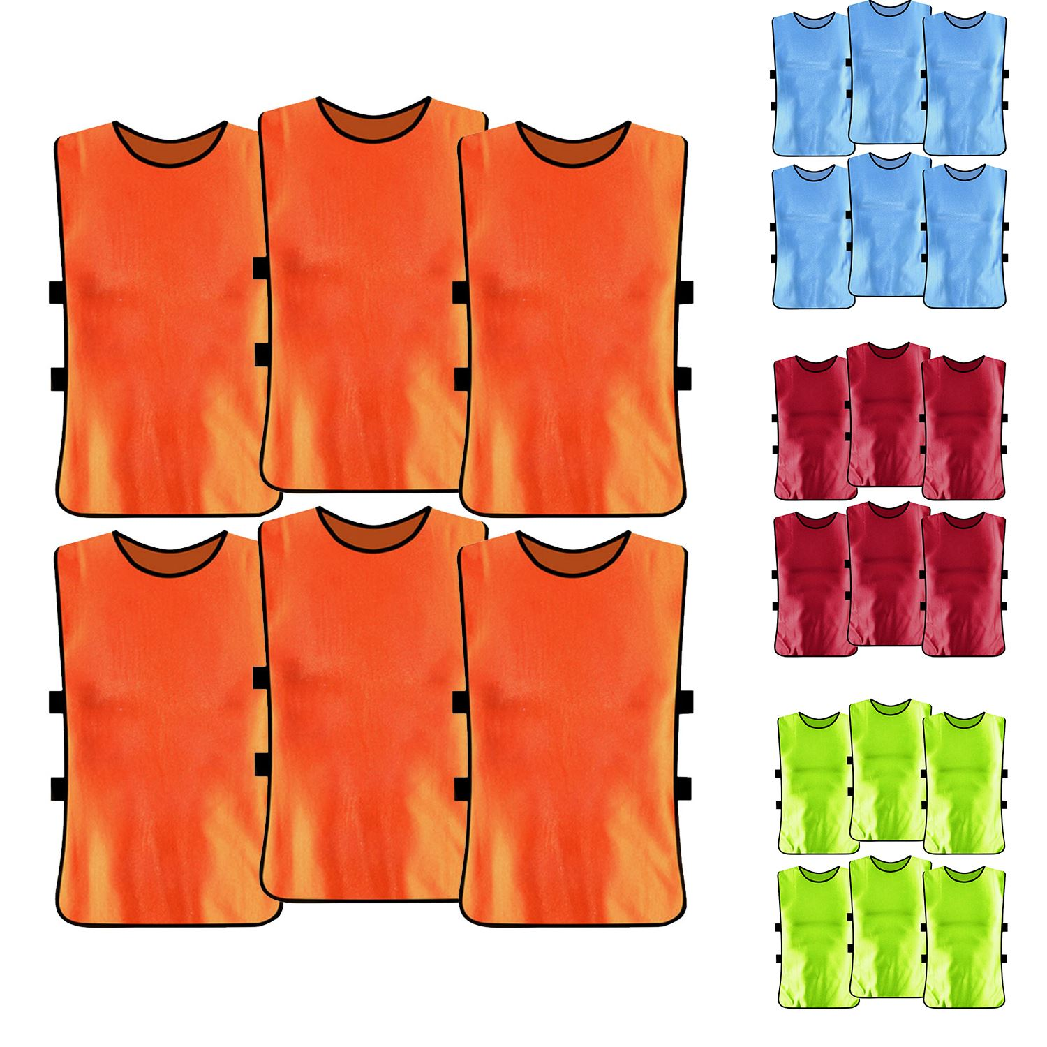 6 PCS Adults Kids Soccer Pinnies Quick Drying Football Jerseys Vest Scrimmage Practice Sports Vest Breathable Team Training Bibs