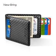 NewBring etui na karty organizator Carbon fibre Look klips do pieniędzy do portfela RFID Block prawo jazdy gotówka mężczyźni biznes etui na kartę kredytową