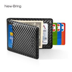 Image 1 - NewBring etui na karty organizator Carbon fibre Look klips do pieniędzy do portfela RFID Block prawo jazdy gotówka mężczyźni biznes etui na kartę kredytową