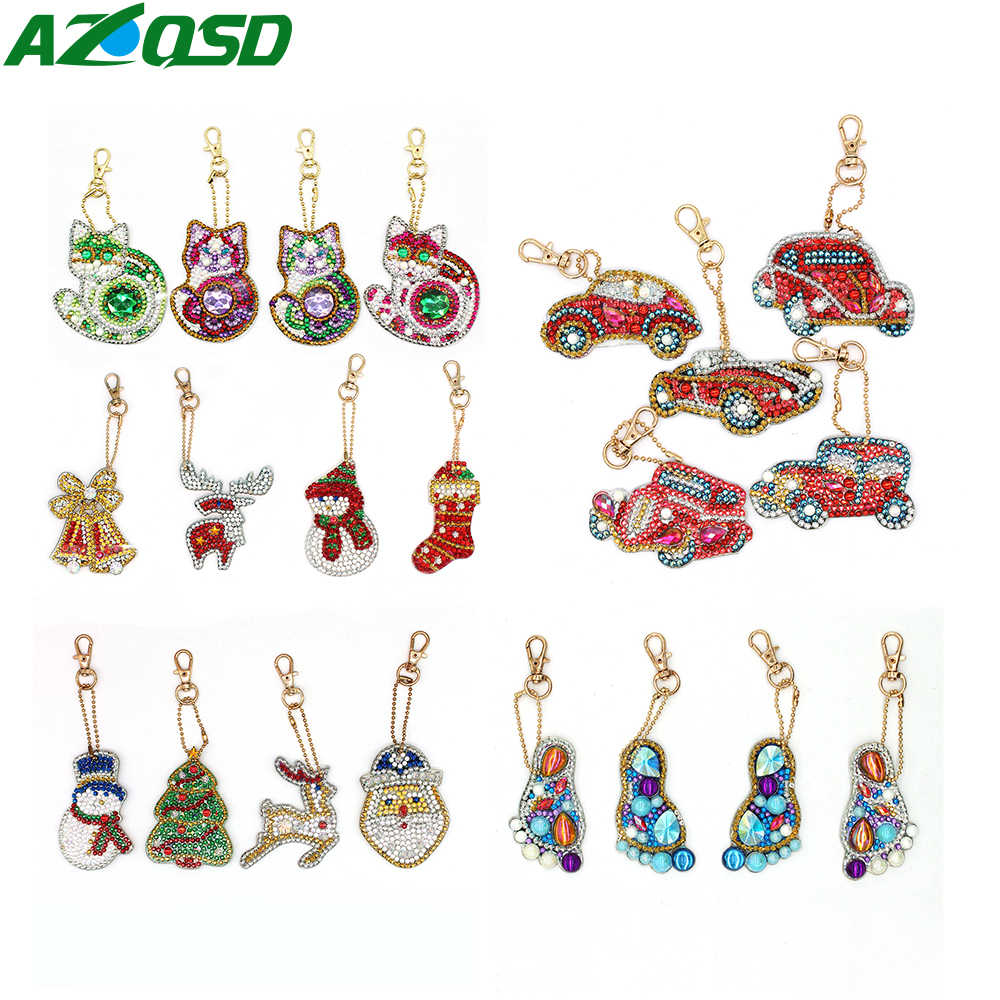 DIY Keychain Pendant Full Drill Diamond Painting Key Buckle Ring Gift Handmade