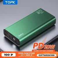TOPK-Banco de energía I2006P para Xiaomi, batería externa de 10000mah y 20000 mAh, LED de carga portátil, PD, 20W, 10000, 20000 mAh