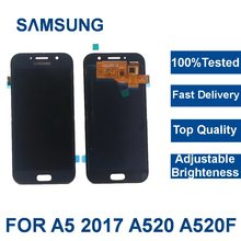 For Samsung Galaxy A5 2017 A520F SM-A520F A520 Mobile Phone LCD Display Touch Screen Digitizer Assembly with Brightness Control(China)