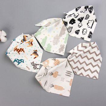 5 Pcs/Pack Baby Cotton Feeding Bibs Print Bandana Saliva Triangle Dribble Towel Q81A