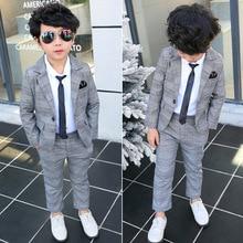 Formal Children Plaid Dress Suit Set Boy Wedding Party Catwalk Piano Performance
