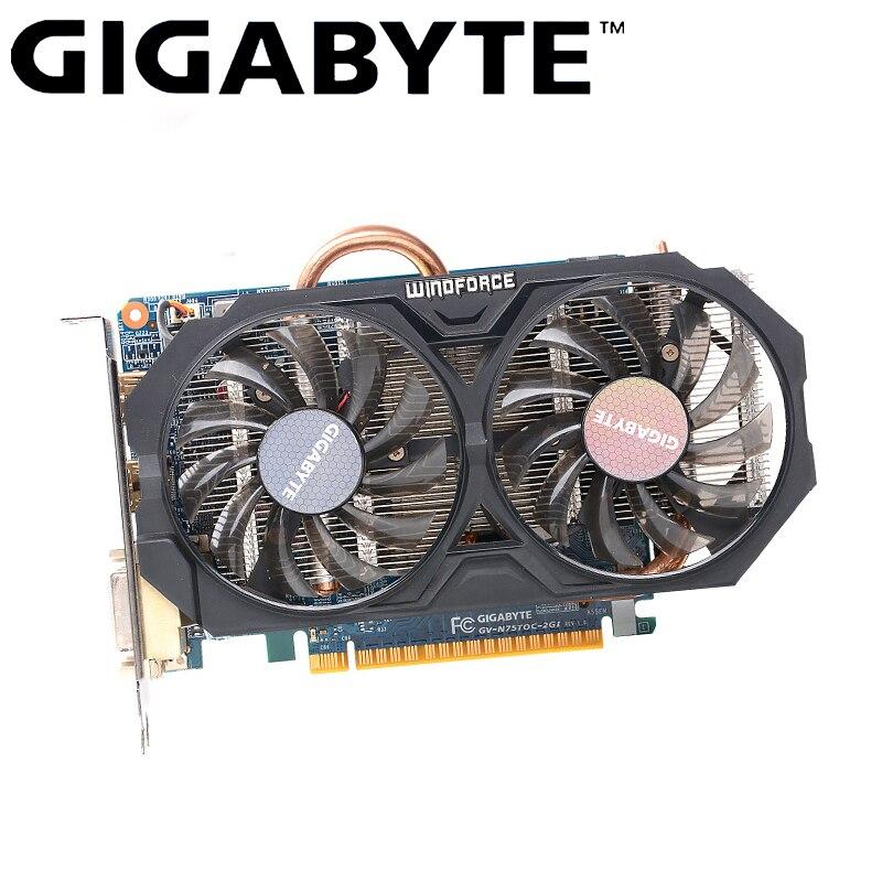 Carte graphique originale pour Gamer GIGABYTE GTX 750 Ti avec carte graphique NVIDIA GeForce GTX 750Ti GPU 2 go GDDR5 128 bits carte vidéo utilisée