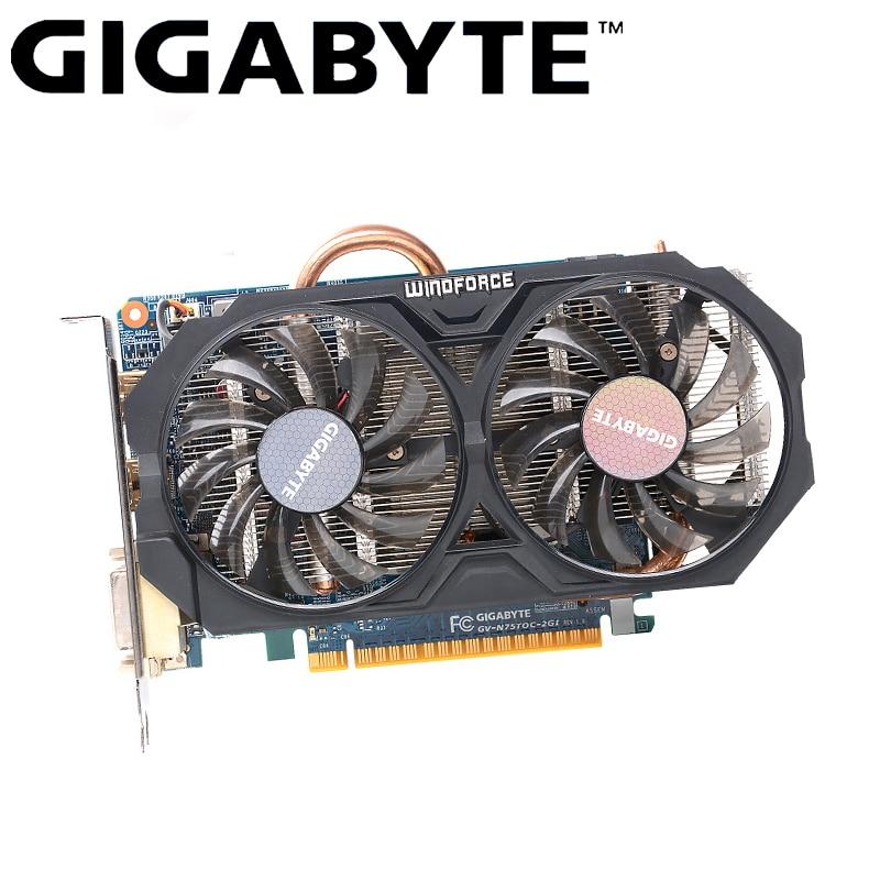 GIGABYTE GTX 750 Ti tarjeta gráfica Original Gamer con NVIDIA GeForce GTX 750Ti GPU 2GB GDDR5 tarjeta de vídeo de 128 bits tarjeta usada