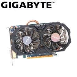 Placa de vídeo usada do bocado da placa de vídeo do gpu 2 gb gddr5 750 de gigabyte gtx 128 ti original do jogo dos gráficos com nvidia geforce gtx 750ti