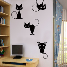 Cartoon 4 Cats Wall Stickers Removable PVC Children Wallpaper For Kids Bedroom Decoration Creative Home Decor Art Mural zthand made professional craftsmen choose creative decoration children s imagination uniqueness teaching wood art set for kids