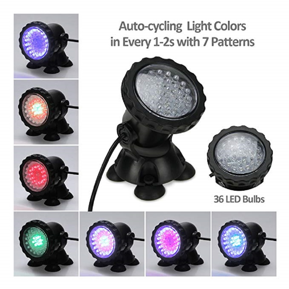 1 Set 1/2/3/4/5 Light Waterproof IP68 RGB 36 LED Underwater Spot Light For Swimming Pool Fountains Pond Water Garden Aquarium