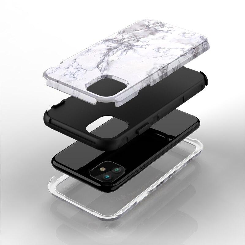 หินอ่อนสำหรับiPhone 11 Pro Max 7 8 6 Plus Hard PCซิลิโคนสำหรับiPhone X Xs max Xr 360น่ารักยูนิคอร์น3 In 1