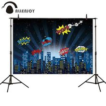 Allenjoy photographic backdrop superhero urban night spotlight boy birthday party background photocall photobooth prop printing