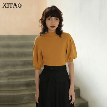 XITAO Vintage Lantern Sleeve Half High Collar Sweater French Style Elegant Solid Color Pullover Women Fashion Knitwear DMY4033