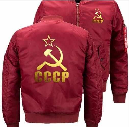 뜨거운 cccp 러시아 소련 소련 폭격기 비행 비행 재킷 겨울 두꺼운 따뜻한 지퍼 남자 재킷 애니메이션 남자 캐주얼