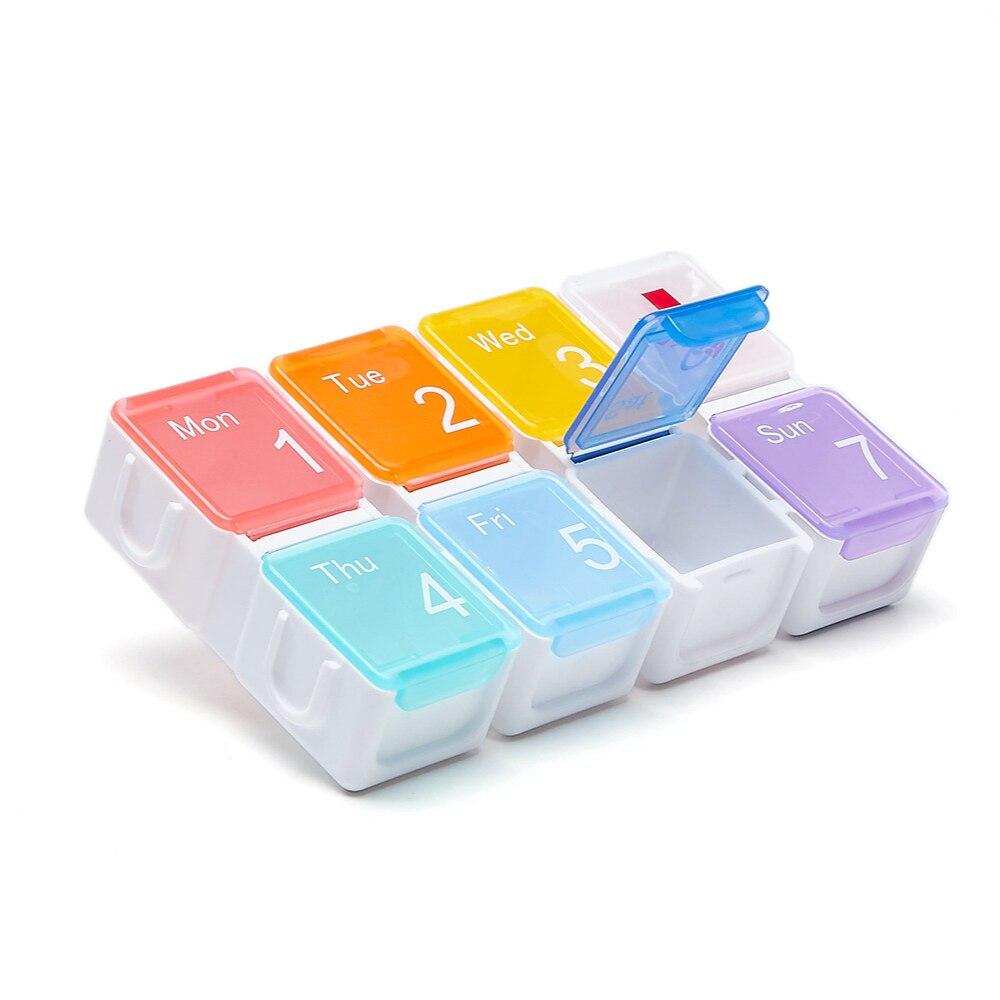 Купить с кэшбэком 7-day weekly tablet box storage container dispenser Pillbox Dispenser Travel