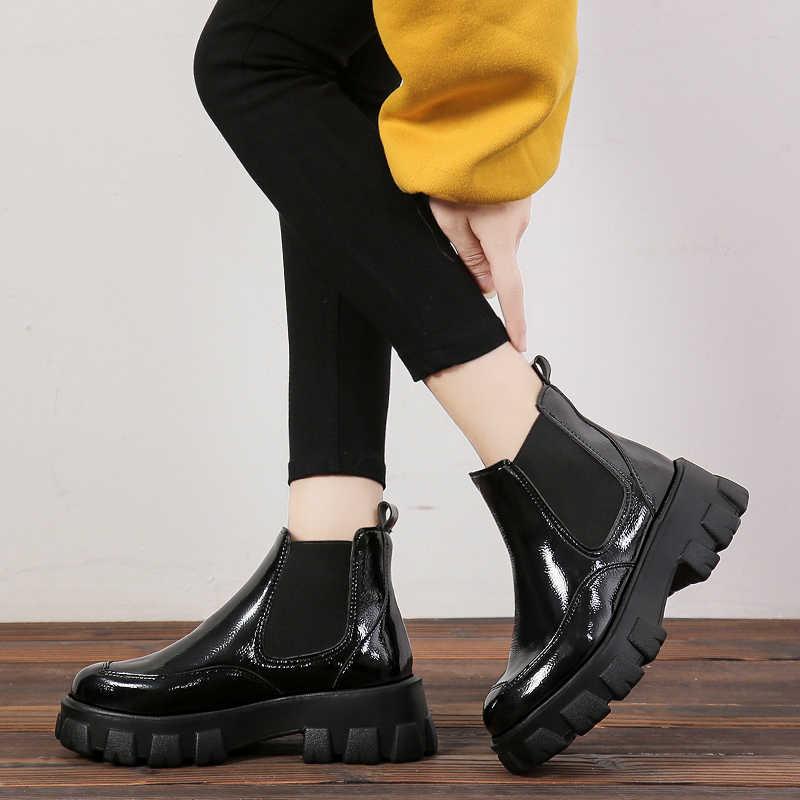 Femmes cheville Martin bottes femmes chaussures en cuir pu décontracté sans lacet pompes robe hiver chaud Chelsea bottes de neige femmes botas Mujer T383