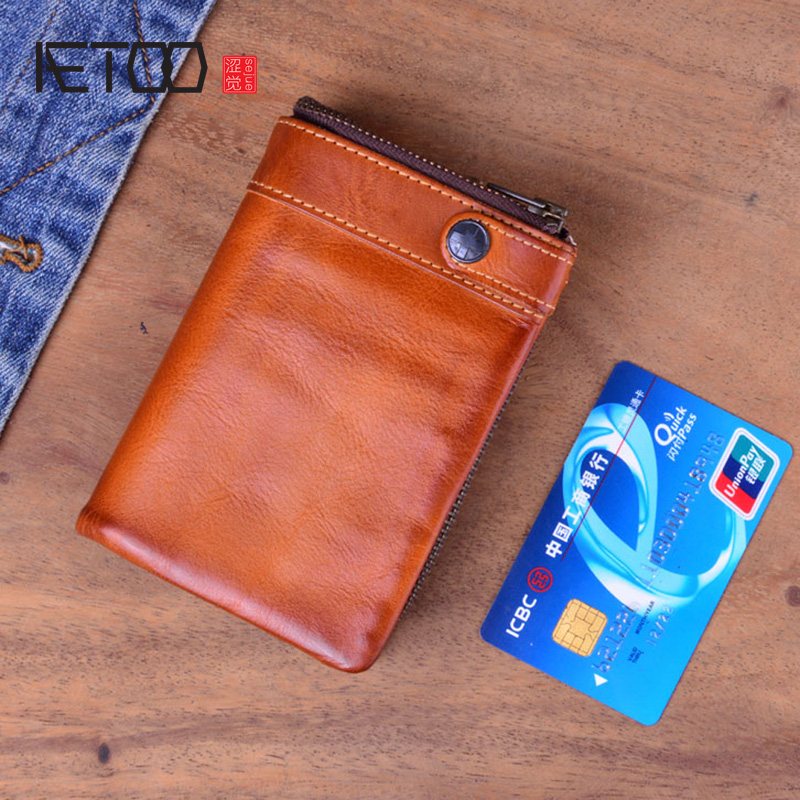 Men's Wallet Real Genuine Leather Zipper Card Holder Short Vintage Bag Vertical
