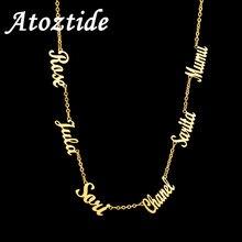 Atoztide personalizado múltiplo nome personalizado colares de corrente de jóias pingente nome colar de ouro para presentes de aço inoxidável feminino