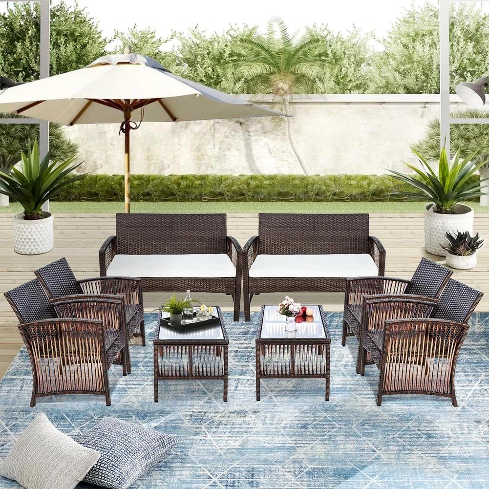 4 in 1 outdoor furniture rattan chair table terrace set garden sofa backyard porch poolside brown patio furniture usa shipping