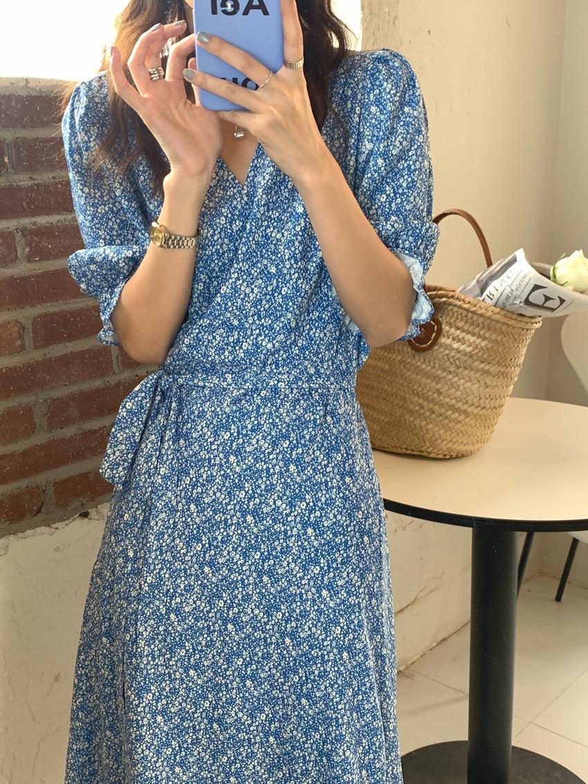 Hce727003bc4246b4a26fa66c486091a1a - Summer V-Neck Short Sleeves Lace-Up Floral Print Midi Dress
