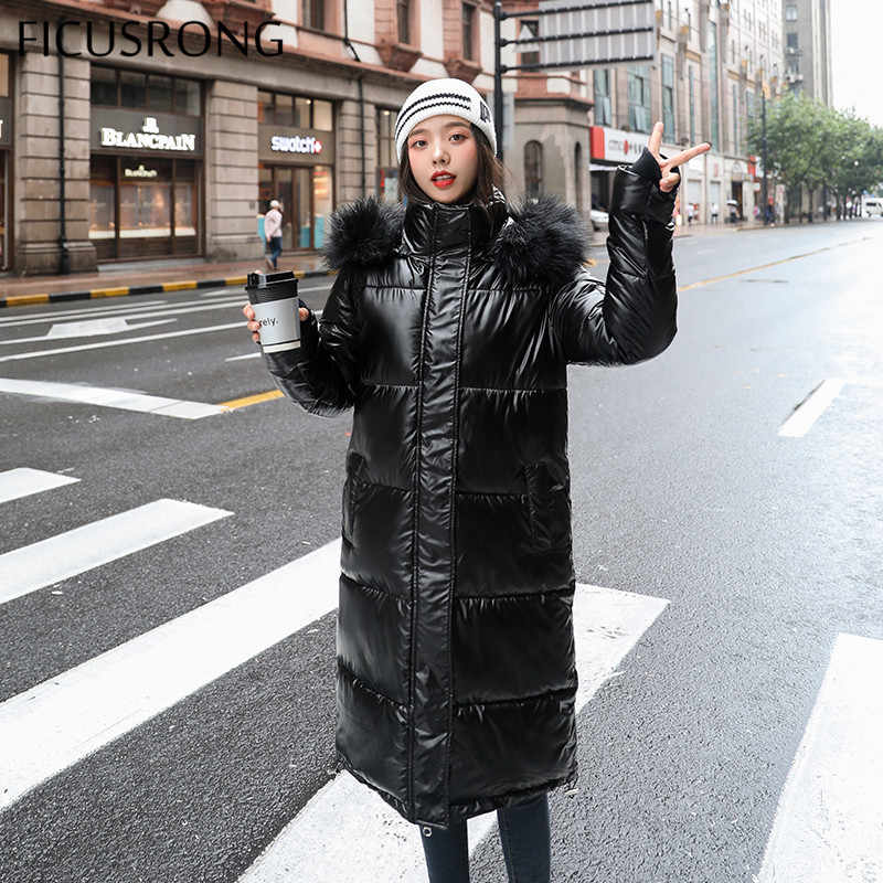 FICUSRONG Fashion Long Glossy Womens Winter Jackets Coats Thick Warm Hooded Down Parkas Shining Babric Stylish Fur Ladies Coats