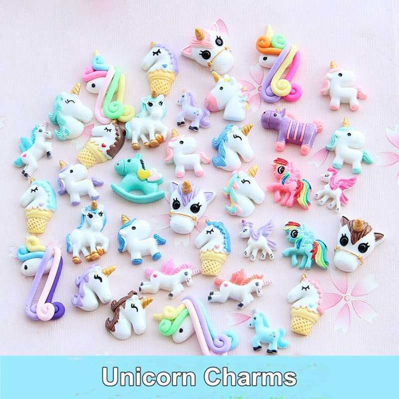 1/3/5/10Pcs Unicorn Charms For Slime Filler DIY Ornament Phone Decoration Resin Charms Lizun Mud Clay Slime Supplies Kids Toys E