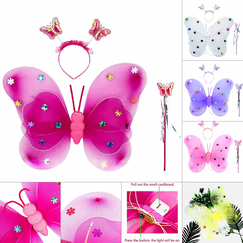 3Pcs Kids Girls Fairy Princess Costume Sets Stage Wear Butterfly Wings Wand Headband Halloween Costume For Children
